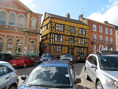Yellow and black (pefkosmad) Tags: street old uk england house black building yellow architecture town shropshire medieval tudor ludlow halftimbered relic timberframe