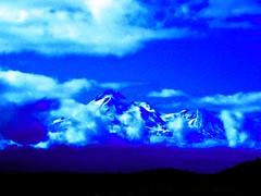 Mystical Mount Shasta in Blue By Sherrie D. Larch (sherrielarch) Tags: blue snow northerncalifornia bluesky summertime mountshasta digitalphotography darkblue lightblue deepblue cascademountains digitallyaltered sherrielarch