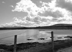 The ebb tide fence (Elisafox22) Tags: sea sky blackandwhite bw seascape sunshine clouds fence reflections landscape outdoors mono scotland sand aberdeenshire sony monotone barbedwire greyscale fenceposts sandend hx1 fencefriday fencedfriday elisafox22 elisaliddell©2016