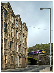 Mills and ..... things (david.hayes77) Tags: building facade yorkshire lamppost northern westyorkshire pennines 2016 cornholme dmu calderdale caldervalley class150 burnleyroad a646 150114 2j68 frosthulmemill