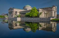 The Museum of Science and Industry, Chicago (Carl's Captures) Tags: trees urban lake reflection green water architecture landscape mirror design morninglight spring cityscape columns may chitown bluesky lagoon symmetry mirrored hydepark cookcounty msi chicagoillinois museumofscienceandindustry jacksonpark columbiabasin thewindycity cityofchicago tamron18270 nikond5100 lightroom5