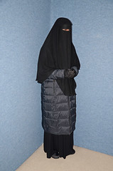 Coat and Boots (Buses,Trains and Fetish) Tags: winter hot girl warm coat hijab torture sweat niqab anorak salve slave burka chador