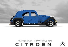Citroen Traction Avant 11CV Normale - 1947 (lego911) Tags: citroen traction avant andre michelin 1947 1949s classic vintage france french 11cv 11 cv normale normal sedan saloon fwd monocoque auto car moc model miniland lego lego911 ldd render cad povray lugnuts challenge 103 thefabulousforties fabulous forties 1940s unibody