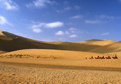 Desert, Dun Huang, China (travelyahootw) Tags: echoingsandhill desert dunhuang china silkroad silk camel tourist travel landscape nature blue sky cloud sand human shadow hill white golden ride animal history adventure outdoor background heat hot