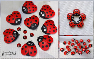 Ladybug, studearrings and pendants