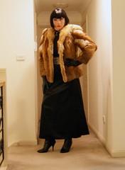 Black Encounter (5) (Furre Ausse) Tags: red black leather fur belt dress boots coat skirt jacket gloves fox satin dominant governess