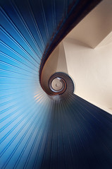 wrapping upward (rachelstander) Tags: blue lighthouse spiral sandiego lookingup staircase nautilus d90 pointlomalighthouse sigma1020mmf456
