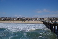 Manhattan Beach (kristenlanum) Tags: ocean california blue summer beach water losangeles sand waves pacific surfer manhattanbeach froth