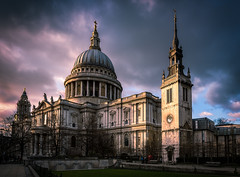 Paul's in Profile (DMontalbano) Tags: street city uk travel sunset england sky building london dan church st skyline architecture clouds photography cityscape cathedral dramatic pauls dome montalbano 500px