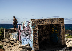 PillBox (Distinct.Origin) Tags: new blue summer sky sun beach water canon landscape graffiti hawaii sand oahu weekend military hike newbie dslr pillbox