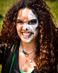 Scary (A.I.D.A.N.) Tags: portrait colour face festival portraits canon hair facepainting necklace scary funny humorous colours faces fierce outdoor zombie longhair makeup curly angry grimace fullframe zombies curlyhair comical necklaces mkii frightening markii ringlets hayfestival canoneos5dmarkii canon5dmkii canon5dmarkii