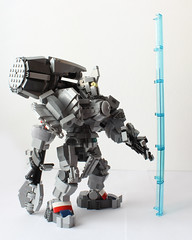 Get behind me! (hachiroku24) Tags: blanco hammer toy lego character suit creation armor fondo reinhardt overwatch