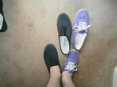Muddy Purple Vans (eurimcoplimsoll) Tags: trash shoes mud sneakers trainers canvas vans plimsoles plimsols