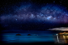 Milky Way over the Mokulua islands and Lanikai Beach in Kailua Hawaii _86a0525b-30b (The Smoking Camera) Tags: ocean longexposure blue lighthouse beach lens island nikon oahu stacking 20mm makes dslr windward nightcap kailua makapuu molokai rabbitisland mokulua starscape 18g d810 milkywave