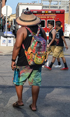 Festival Fashion (tim.perdue) Tags: comfest 2016 community festival columbus ohio goodale park outdoor summer party short north victorian village downtown urban city man person figure tiedye shorts backpack straw hat ambulance colorful multicolored street candid fashion
