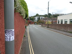 Bad Hair Day? (helixgraffiti) Tags: street art up pen hair graffiti sticker day character bad doodle lampost stupid marker stick helix why slap graff mad onto boshed
