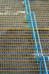 """Found SML Colors: 藍和黃的樓梯 Stairs in Yellow and Cyan"" / 香港公共屋邨人流建築之形 Hong Kong Public Housing Human Logistics Architecture Forms / SML.20130507.7D.41123"