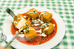 Fried Mozzarella (Cristian Sabau) Tags: food kitchen horizontal cheese tomato photography restaurant melting nopeople vegetable romania garlic cooked transylvania fried foodanddrink cutlery italianfood mozzarella marinara colorimage mediteraneanfood talianculture