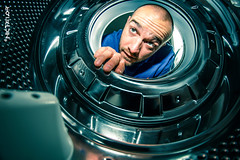 Head in the Future (Explored 10/05/2013) (Nic Taylor Photography) Tags: selfportrait machine fisheye inside washingmachine washing washer 30faves samyang 10faves 20faves 40faves club16 samyangfisheye samyang8mmf35mcfisheye