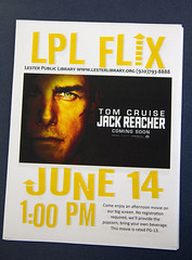 LPL Flix (Lester Public Library) Tags: film library librarian movies librarians publiclibrary lpl publiclibraries libslibs librariesandlibrarians filmseries jackreacher 365libs lesterpubliclibrary readdiscoverconnectenrich wisconsinlibraries lesterpubliclibrarytworiverswisconsin