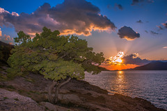 Sunset (Vagelis Pikoulas) Tags: blue trees sunset sea sky sun mountain mountains west colour reflection tree green beach rock clouds canon landscape eos spring kiss rocks europe niceshot view greece porto western 1855mm x4 attiki vilia germeno 2013 550d abigfave colorphotoaward mygearandme ringexcellence photographyforrecreation musictomyeyeslevel1