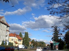 The sky and the city... (maya_dragonfly) Tags: city sky house building fall nature clouds walking europe poland bluesky olympus torun goldenmix autumn12 fallwalking