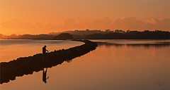 Dawn Fisher (wide) (caralan393) Tags: orange sunrise river dawn fisherman curve moruya