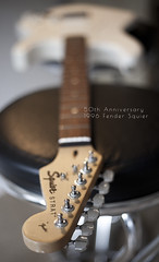 my new one (Larzelott) Tags: wood music white home canon eos 50mm bokeh guitar 1996 fender 5d f18 strat stratocaster mkii