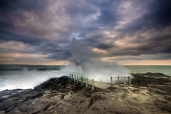 Seseh Splash (Pandu Adnyana (thanks for 100K views)) Tags: bridge sunset bali beach rock indonesia cloudy splash seseh