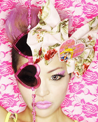 KiKi (_myko) Tags: roses fashion japan japanese michael lace bow harajuku kawaii kiki deco pinkhair sailormoon pinkeyes robles hotpink heartglasses pinkcontacts