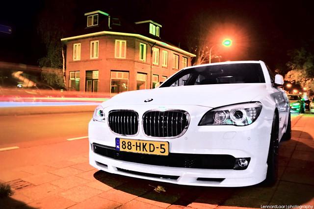 bmw alpina black b7 biturbo tuning turbo white 7series night photo carspotting netherlands winterswijk
