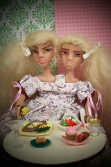 Dinner for two... (partymonstrrrr) Tags: dinner toy toys twins doll dolls handmade good ooak evil twin siamese supper jezebel rement azra sculpted conjoined megahouse joeyversaw marymagpie