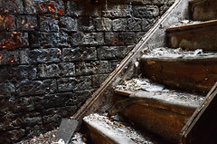 Stairway to Heaven (Michaelasixfive) Tags: old building brick texture abandoned stairs out wooden shell burnt derelict torched brickwork knacked