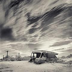 Salton Sea Van (perrymanuk) Tags: california blackandwhite bw abandoned 6x6 film sepia analog mediumformat square photography 50mm fuji desert decay hasselblad squareformat manual perry saltonsea 120mm acros manuk splittoned 501cm perrymanuk
