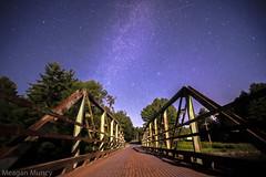 Milky Way (The Bridge and Shooting Star) (10mmm) Tags: park old bridge sky night warning stars steel adirondacks deck galaxy bluehour adirondack milkyway mooseriver