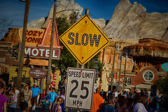 Slow For the Tow-Mater Zone (KGSImaging) Tags: route66 disneyland signage dca hdr carsland