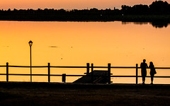 (maxlaurenzi) Tags: silohuette people black white sunset summer silencenature trees water river mantova romance life