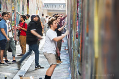 Graffiti artists at play (benpearse) Tags: street art youth painting photography graffiti ben australia melbourne august victoria spray artists nsw cbd cans laneways katoomba pearse 2013