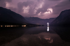 Lightning Strikes Twice (All In Camera Light Painting), Bohinj Jezero (flatworldsedge) Tags: park light lake storm mountains girl clouds painting purple
