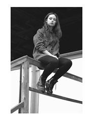 _ (Pauline Er) Tags: blackandwhite bw white black girl friend pretty alone sitting frame sit lonely sight