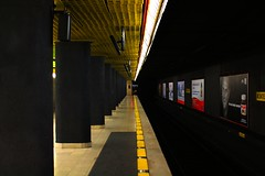 Metro (Antonello_v) Tags: world street travel italy milan travelling station yellow night train photoshop canon photography eos lights evening cool nice perfect europa europe exposure shoot italia place metro milano places trains pic symmetric undeground d1100