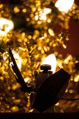 Lego robot guards the Christmas tree (TheLittleMiss) Tags: christmas white black nerd gold robot lego mecha mfz mobileframezero