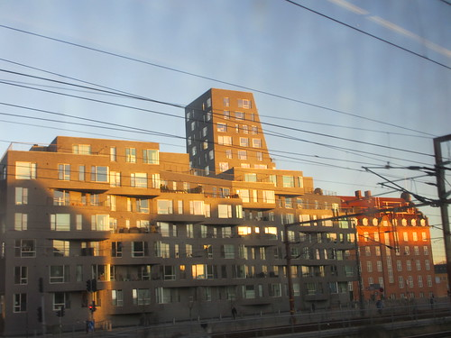 Apartment complex from the railway, Copenhagen, Denmark