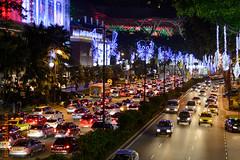 Singapore (Edi Bähler) Tags: auto plant strasse pflanze perspective perspektive 50mmf18 weihnachtsbeleuchtung lightsinthedark lichterimdunkeln nikondf