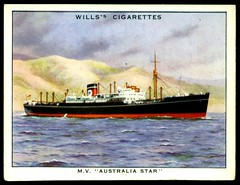 "Cigarette Card - Motor Vessel ""Australia Star"" (cigcardpix) Tags: vintage advertising ships ephemera shipping liner cigarettecards steamships"