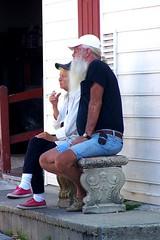 Crazy and Lazy (perihelio) Tags: beard smoking oldercouple