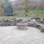 """Greenhaven Landscapes Inc., glass fireplace, glass firepit, outdoor fireplace, stone patio, patio, boulders, dry creek bed <a style=""""margin-left:10px; font-size:0.8em;"""" href=""""http://www.flickr.com/photos/117326093@N05/12490182023/"""" target=""""_blank"""">@flickr</a>"""
