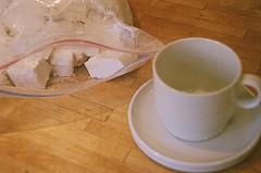 Alex's Homemade Marshmallows (jjldickinson) Tags: wood food cooking cup table longbeach marshmallow bauhaus wrigley olympusom1 saucer fujicolorsuperiaxtra400 promastermcautozoommacro2870mmf2842 promasterspectrum772mmuv roll488o2