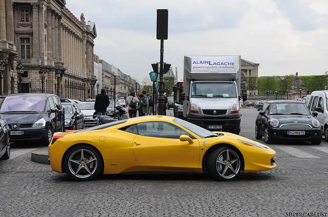 paris france yellow exotic supercar 2012 ferrari458italia