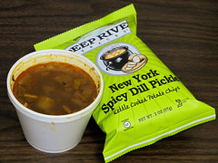 Chicken fajita soup and spicy dill pickle potato chips (Coyoty) Tags: food brown color green chicken college dill bag soup cafe connecticut ct chips kettle potato snack spicy potatochips pickle fajita farmington kettlechips deepriver tunxiscommunitycollege pagescafe
